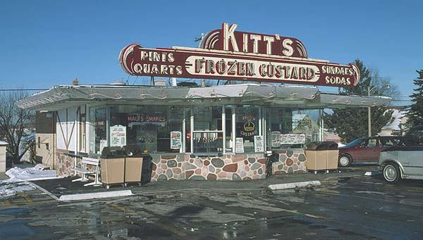 Many of Wisconsin's drive-in restaurants specialize in frozen custard. This Kitts drive-in is located at 7000 West Capitol Drive in Milwaukee. Courtesy of Jim Draeger, personal collection.